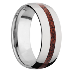 Ring with Red Dinosaur Bone Inlay