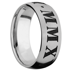 Ring with Roman Numeral 3 Pattern