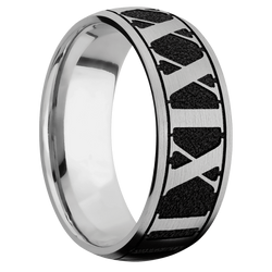 Ring with Roman Numeral 4 Pattern