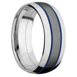 Ring with Royal Blue Cerakote Inlay