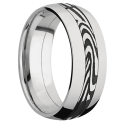 Ring with Sunset Damascus Steel Inlay