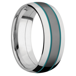Ring with Teal Cerakote Inlay