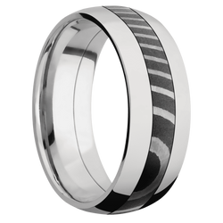 Ring with Tiger Damascus Steel Inlay