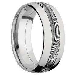 Ring with Tightweave Damascus Steel Inlay
