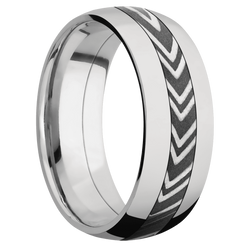 Ring with Zebra Damascus Steel Inlay