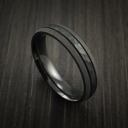 Black Zirconium Band with Hammered Center Custom Made