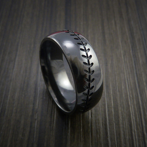 Black Zirconium Baseball Ring with Polish Finish