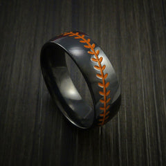Black Zirconium Baseball Ring with Polish Finish - Revolution Jewelry  - 3