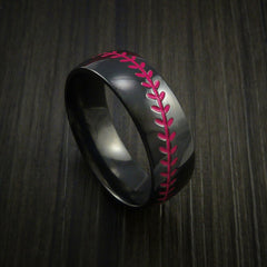 Black Zirconium Baseball Ring with Polish Finish - Revolution Jewelry  - 10