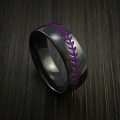 Black Zirconium Baseball Ring with Polish Finish - Revolution Jewelry  - 9