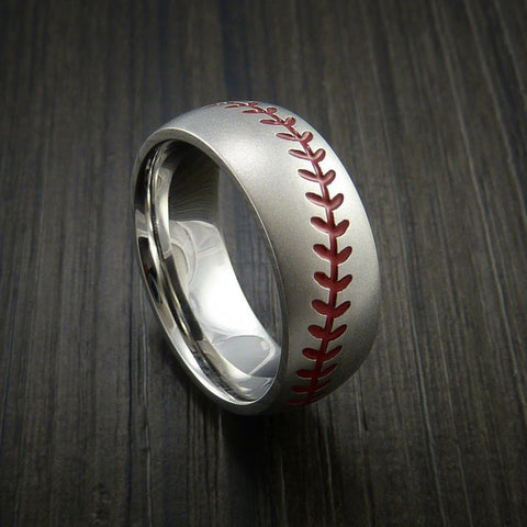 Cobalt Chrome Baseball Ring with Bead Blast Finish
