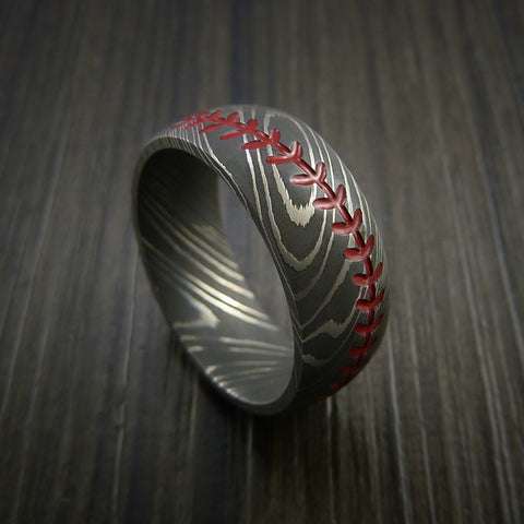 Damascus Steel Baseball Ring with Acid Wash Finish