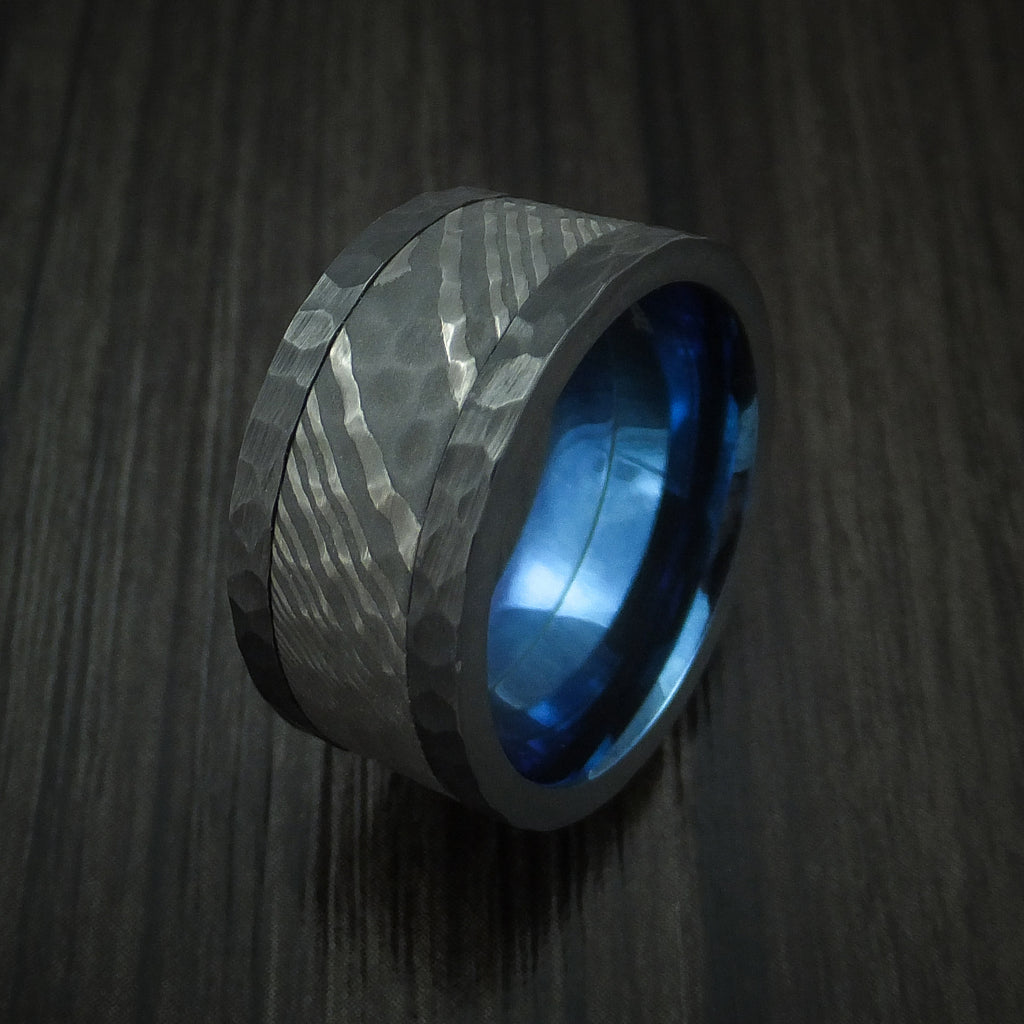 Black Zirconium and Damascus Steel Hammered Ring with Anodized Sleeve Custom Made