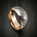 14K Gold Ring with Kuro Damascus Steel Inlay Custom Made Band
