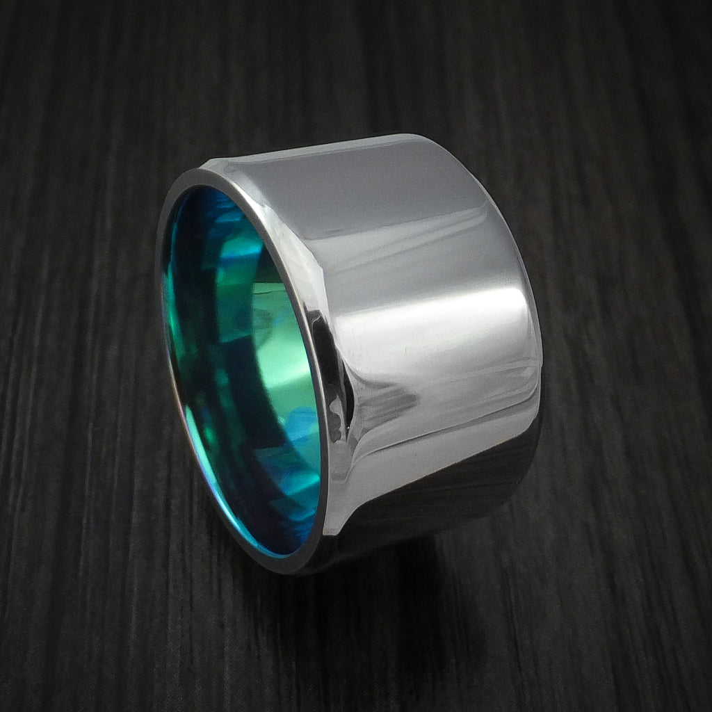 Titanium Wide Band Ring Made to Any Size Turquoise Anodized Band