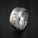 Kuro Damascus Steel and 14K White Gold Mokume Shakudo Gane Inlay Custom Made Band