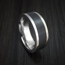 14K White Gold and Elysium Black Diamond Ring Custom Made Band