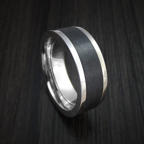 Platinum and Elysium Black Diamond Ring Custom Made Band