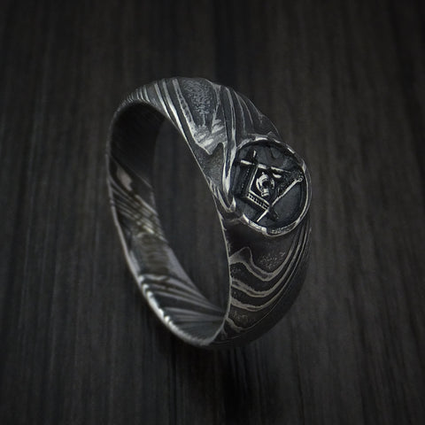 Kuro Damascus Steel Masonic Emblem Signet Ring Custom Made Band