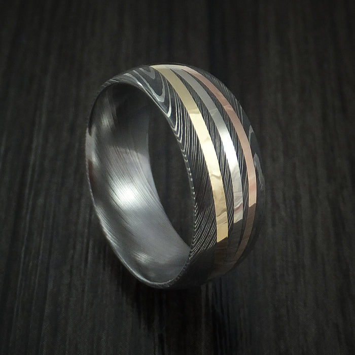 Damascus Steel Ring with Diagonal 14K Gold Inlays Wedding Band Custom Made
