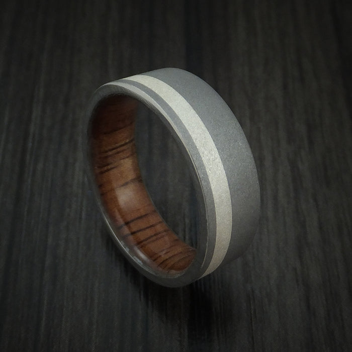 Titanium Ring with Silver Inlay and KOA Wood Sleeve Wedding Band Any Size Sandblast Finish