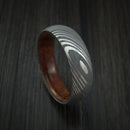 Damascus Steel Ring with Desert Ironwood Burl Hardwood Interior Sleeve Custom Made