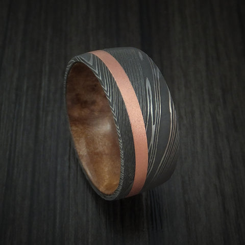 Damascus Steel and Copper Ring with MAPLE BURL Wood Sleeve Wedding Band Custom Made