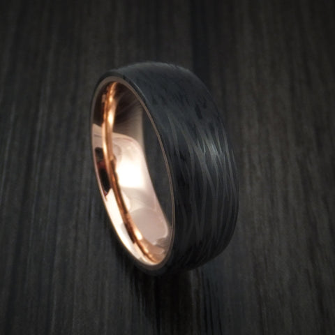 Side Cut Carbon Fiber Ring with 14k Gold Sleeve Custom Made Band