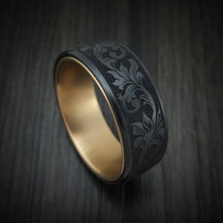 Black Titanium and 14K Yellow Gold Ring by Ammara Stone