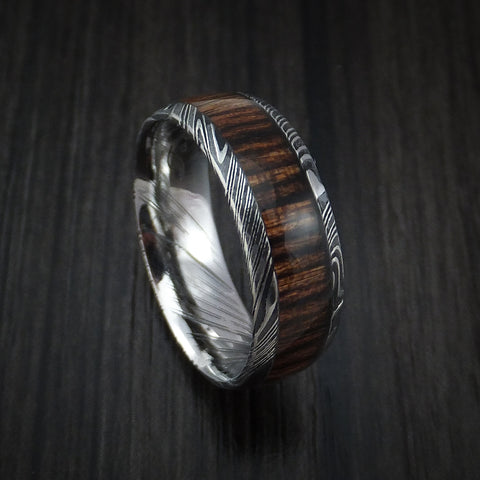 Kuro Damascus Steel Ring with Heritage Brown Hardwood Inlay Custom Made Band