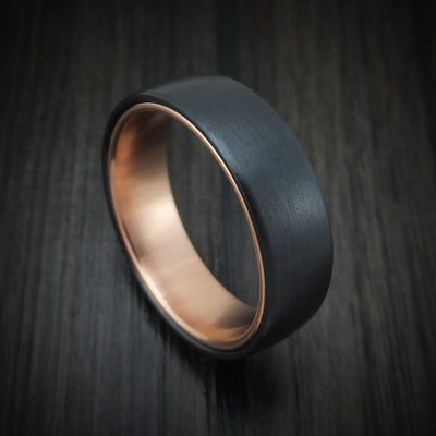Black Titanium ring with 14k Rose Gold Sleeve