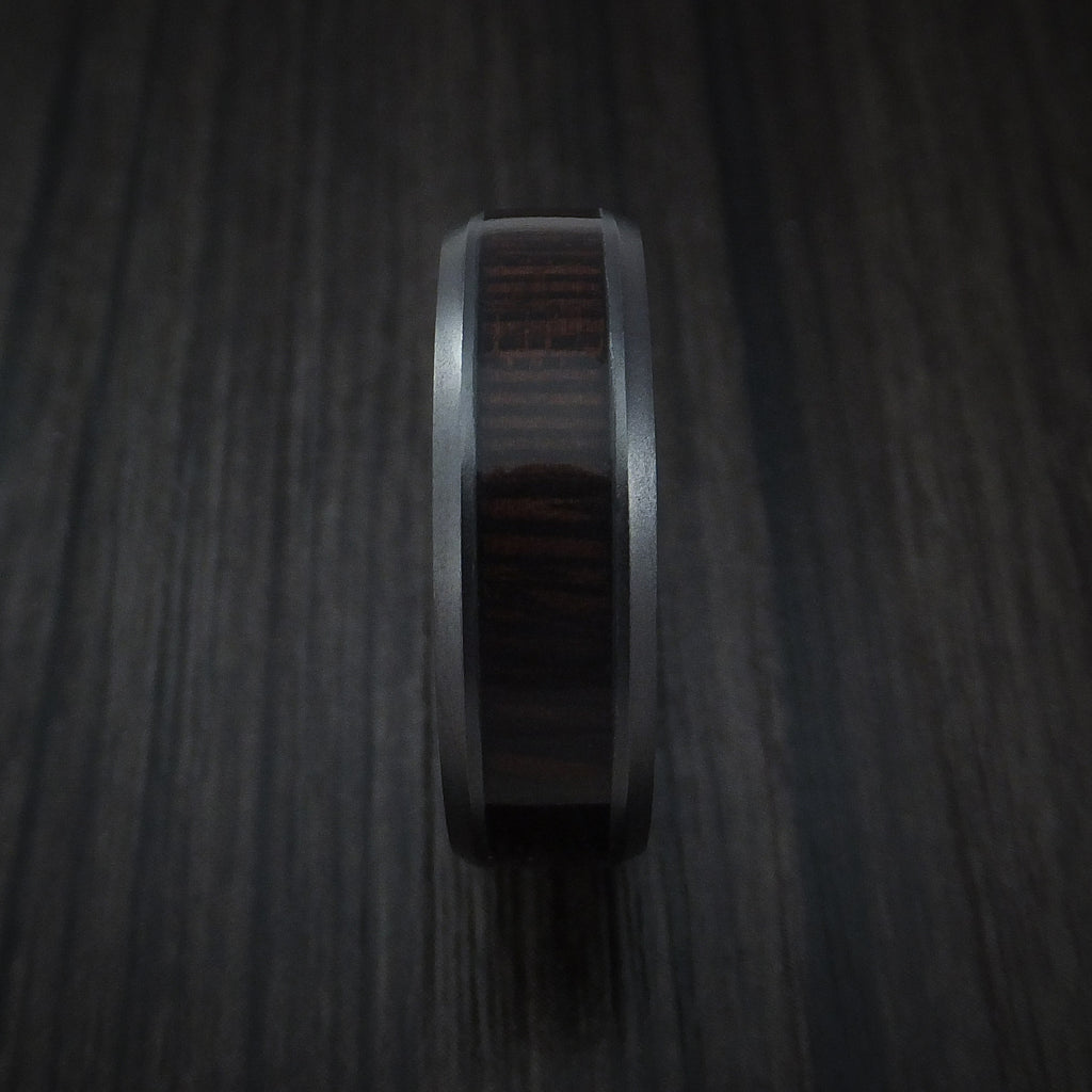 Black Zirconium and WOOD Ring inlaid with WENGE WOOD Custom Made to Any Size and Optional Wood Types