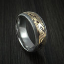 Damascus Steel Ring with 18K Yellow Gold Shakudo Mokume Custom Made Band