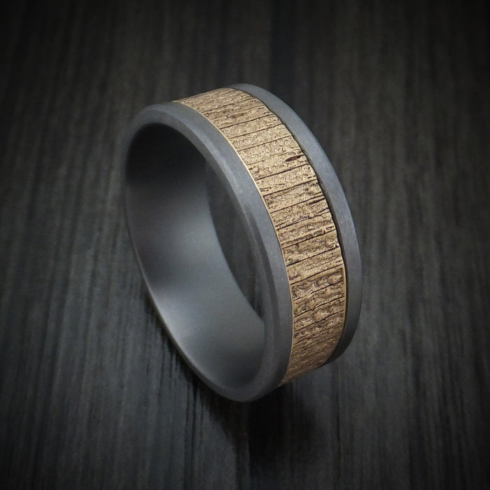 Tantalum and Textured 14K Yellow Gold Ring by Ammara Stone