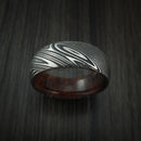 Kuro Damascus Steel Ring with Hardwood Sleeve Custom Made Wood Band