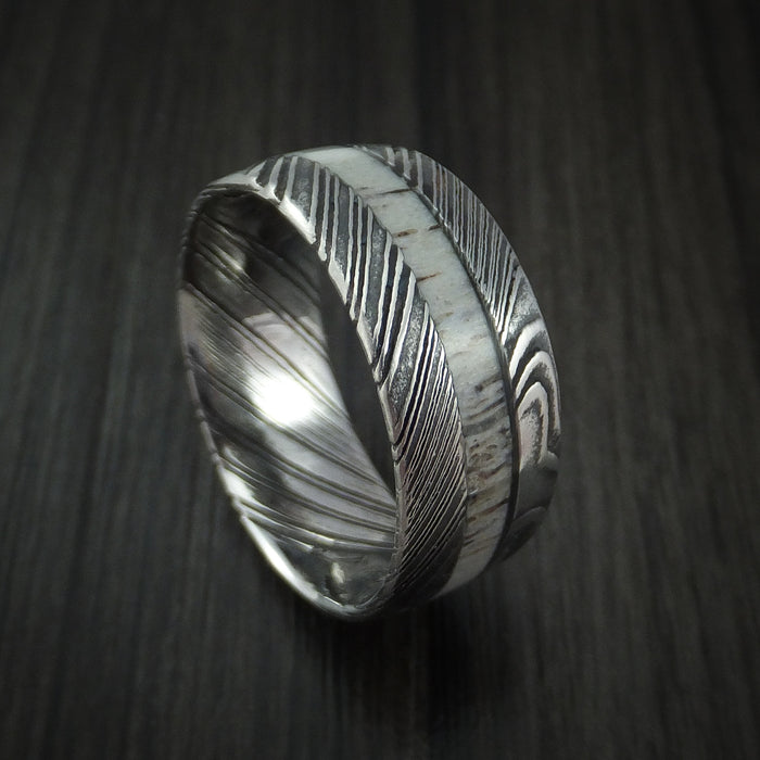 Kuro Damascus Steel and Antler Ring Custom Made Band