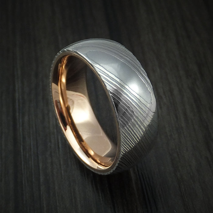 Damascus Steel Ring with 18k Rose Gold Sleeve Custom Made Band