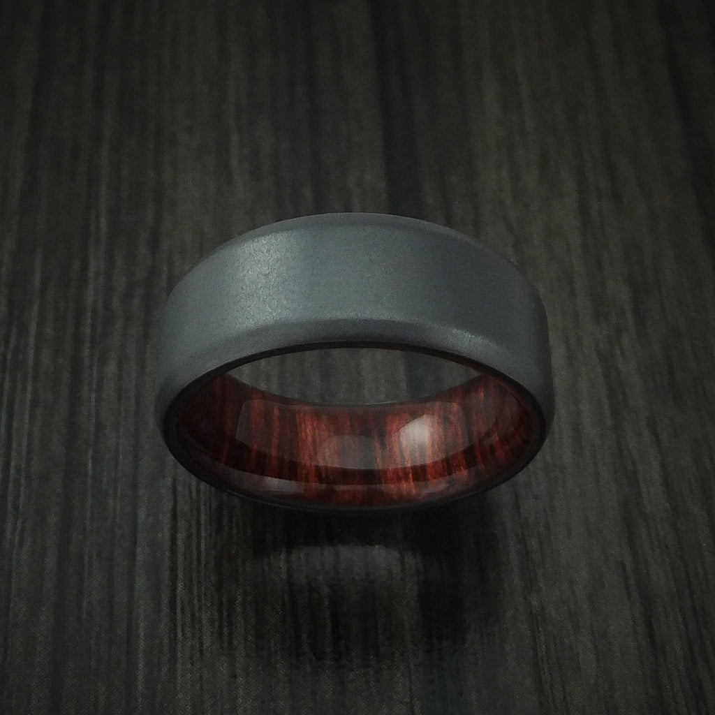 Black Zirconium and Red Heart Wood Hard Wood Sleeve Ring Custom Made