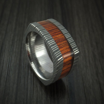 Damascus Steel Square Ring with Cocobolo Hardwood Sleeve