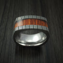 Cocobolo Hardwood and Damascus Steel Wide Square Ring Custom Made Band