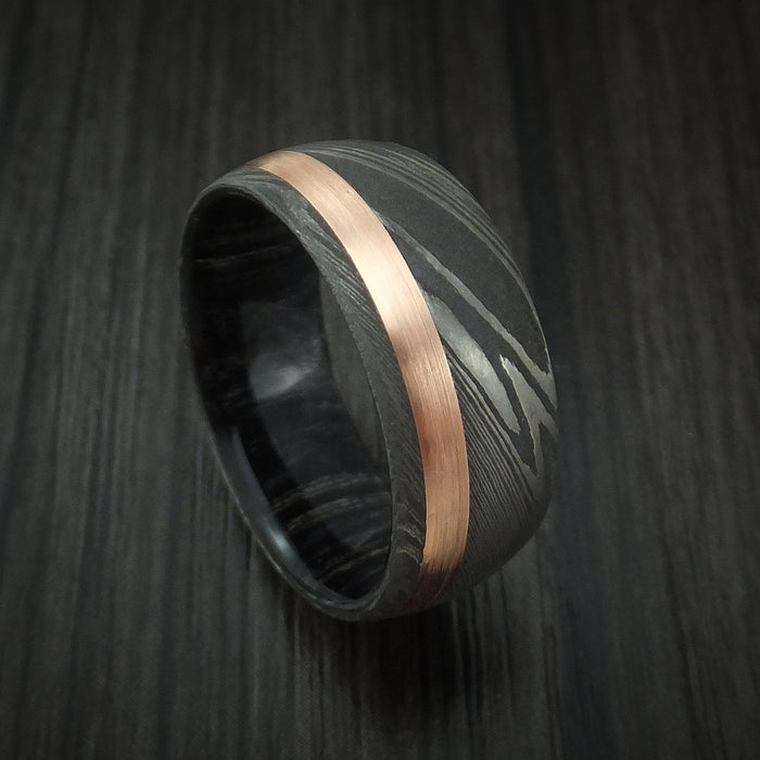 Damascus Steel Band with 14k Rose Gold and Charcoal Wood Sleeve Custom Made
