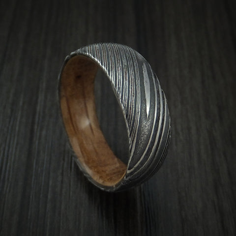 Kuro Damascus Steel Ring with Jack Daniels Whiskey Barrel Wood Sleeve Custom Made Wood Band