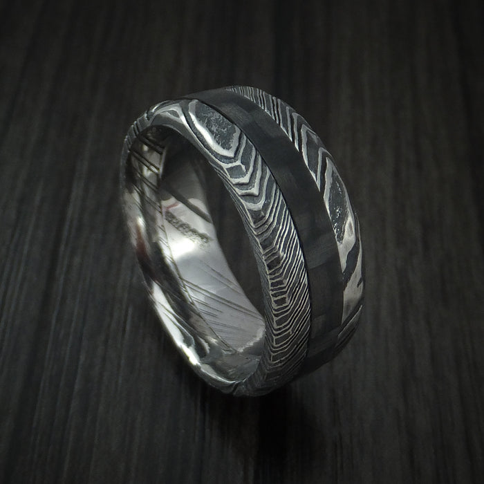 Kuro Damascus Steel and Carbon Fiber Ring Custom Made Hammered Band