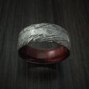 Damascus Steel and Gibeon Meteorite Hammered Ring with Hardwood Sleeve Custom Made Band