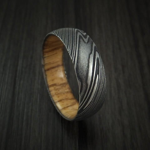 Kuro Damascus Steel Ring with Zebra Wood Hardwood Sleeve Custom Made Wood Band
