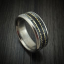 Titanium and Elk Antler Ring with Ebony Wood and Gold Nugget Inlays Custom Made