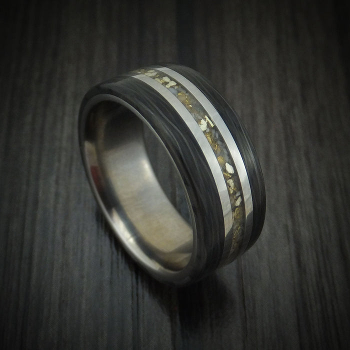 Titanium and Elk Antler Ring with Gold and Side Cut Carbon Fiber Custom Made
