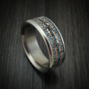 Titanium and Elk Antler Ring with Copper and Turquoise Inlays Custom Made