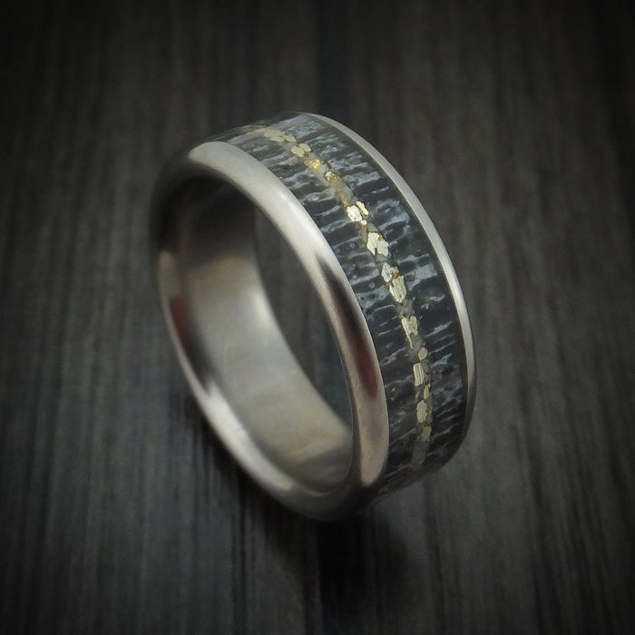 Titanium and Elk Antler Ring with Gold Custom Made