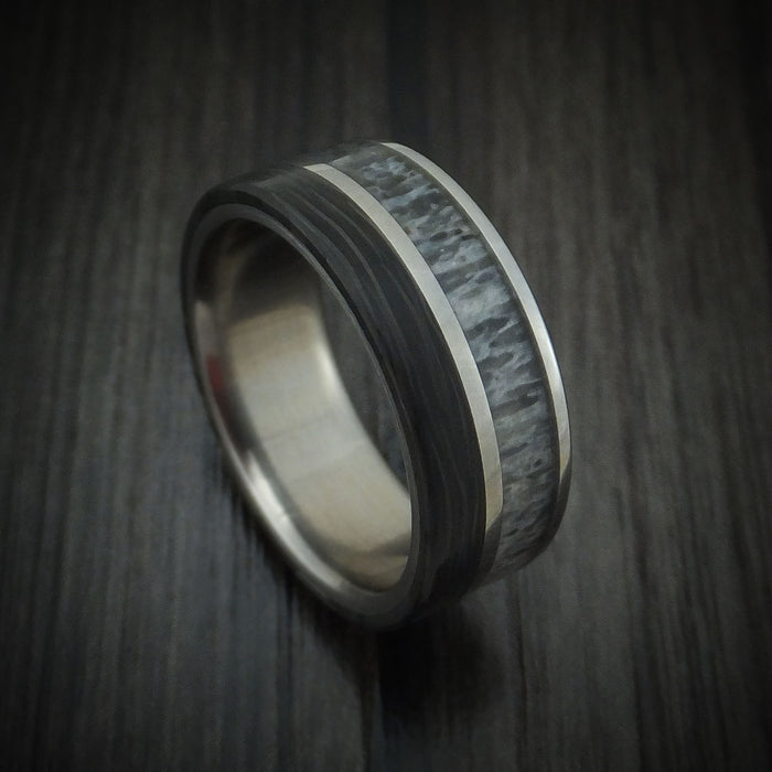 Titanium and Side Cut Carbon Fiber with Elk Antler Band Custom Made